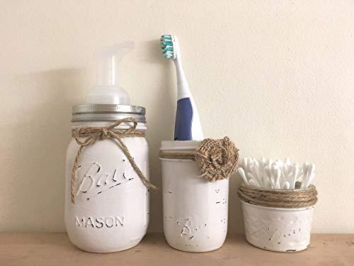 3 Piece Set Rustic Mason Jar Bathroom Storage, Mason Jar Organizer, Bath Accessories, Soap Pump