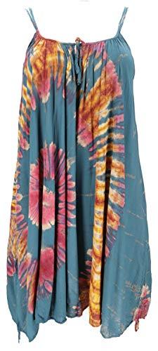 GURU SHOP Plus Size Batik Tunika, Strandkleid, Tunika für Starke Frauen, Damen, Petrol, Synthetisch, Size:44, Kurze Kleider Alternative Bekleidung
