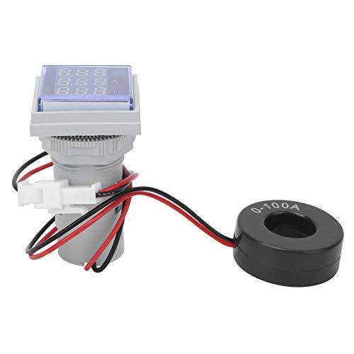 Medidor de corriente de voltaje,AC60-500V 0-100A Medidor digital Cuadrado Pantalla de 3 dígitos Probador de hertz de corriente de voltaje de CA,Voltímetro Amperímetro Indicador de frecuencia(blanco)