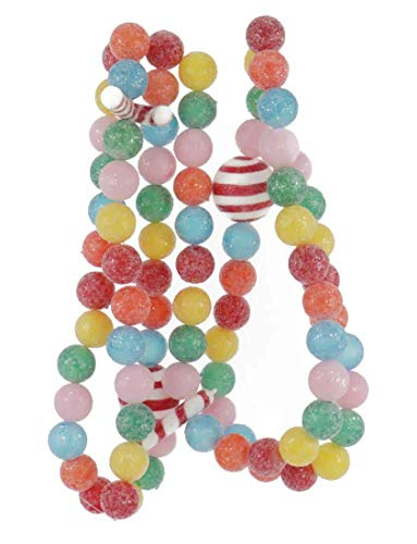 Kurt Adler PINK, BLUE, ORANGE, RED, YELLOW AND GREEN BALL AND CANDY CANE GARLAND