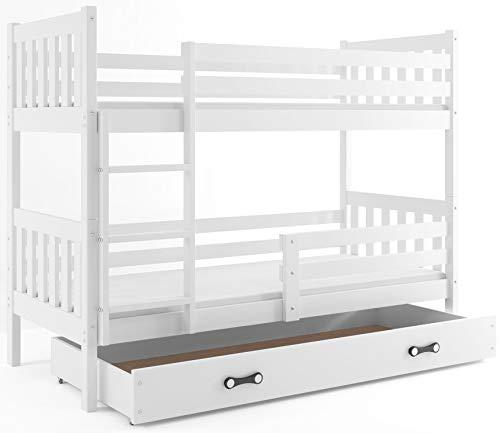 Interbeds Etagenbett CARINO 190x80cm Farbe: WEIß aus Kiefernholz; mit Matratzen und Lattenroste (weiß + weiße Schublade)