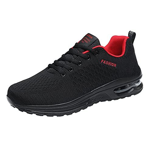 Hombres Otoño Invierno Moda Malla Transpirable Air Cushion Running Zapatos Color Puro Cordones Ligero Suave Cómodo Zapatillas, Red, 39.5 EU