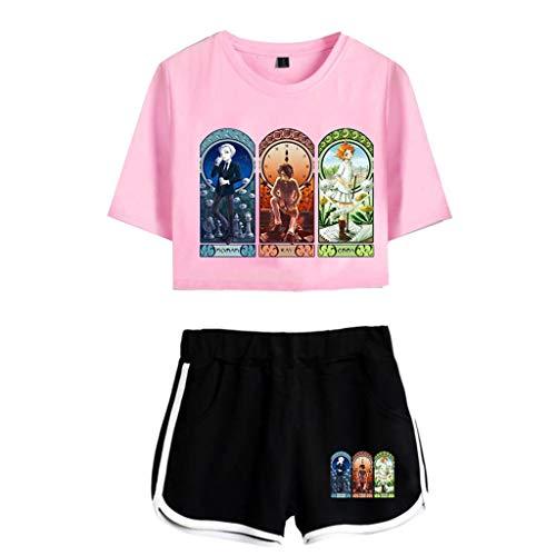 Novo anime fofo The Promised Neverland cropped top e short Emma Norman Ray camisa e calça de manga 3D para fãs, 7, XXL