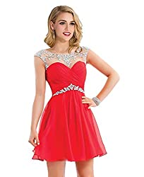 Red Chiffon Prom Homecoming Dress with Crystal Beading