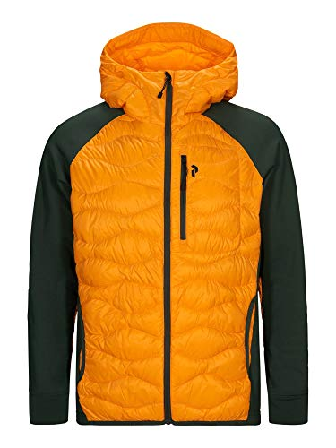 Peak Performance M Helium Hybrid Hood Jacket Grün-Orange, Herren Daunen Freizeitjacke, Größe XL - Farbe Explorange - Dri