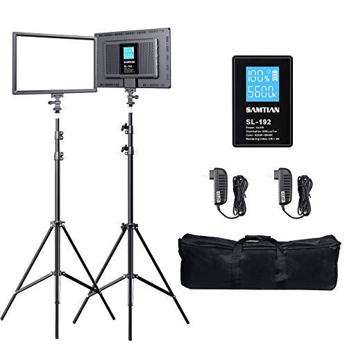 SAMTIAN led Videolicht LED Video Kamera Licht Kit mit Stativ Akku zweifarbige LED Videoleuchte dimmbar Fotolicht mit LCD-Display Tragetasche für...