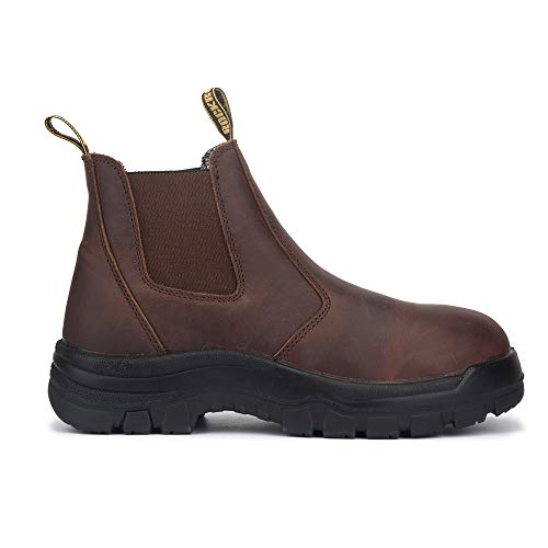 ROCKROOSTER Work Boots for Men, 6 Inch Slip On Soft Toe Leather Working Boot(AK224-8.5)