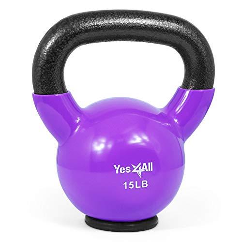 Yes4All Kettlebells revestidos de vinil – Peso disponível: 5, 10, 15, 20, 25, 30, 35, 40, 45, 22,7 kg (O. 6,8 kg - Base de borracha - Violeta)