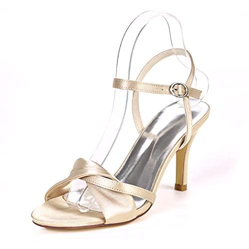 De Mujer Zapatos De Novia Tacón Stiletto Dedo Abierto Boda Sandalias Satén...