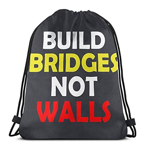 Mochila con cordón para construir puentes, no paredes, deportes, gimnasio, bolsa de viaje para niños, hombres y mujeres