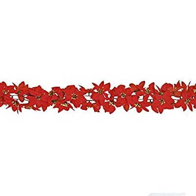 6ft Garland with Velvet Poinsettia Flowers with sparkling centres