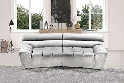 KAWOLA Big Sofa NERLA Stoff Velvet Silber