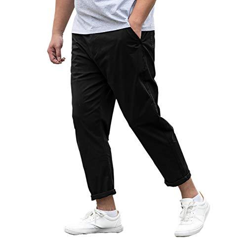 [Make 2 Be] メンズ 9分丈 カラー パンツ 無地 ワイドパンツ 大きいサイズ テーパード 美シルエット チノパン ロングパンツ 綿パン MF95 (05.Black_33)
