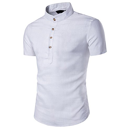 VEKDONE Men's Short Sleeve Golf Polo Linen Banded Collar Slim fit Henley Shirts(White,X-Large)