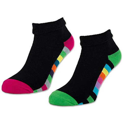 2/4 / 6 Paar Damen THERMO Socken Innenfrottee Umschlag-Socken Bunte Ringel Damensocken - 12792 (Schwarz   Bunte Ringel - 35-38, 2 Paar)