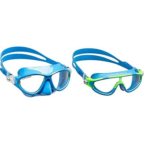 Cressi Schnorchelset Maske Kinder Moon Kid & Baloo Goggles - Schwimmbrille Für Kinder von 7/15 Jahren, Hellblau/Limette Weiß, Einheitsgröße