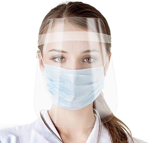 Coota Face Shield 10 PCS,Visera de protección facial con visera clara transparente Escupiendo lente antiniebla, Escudo transparente ligero con banda elástica ajustable para hombres Mujeres