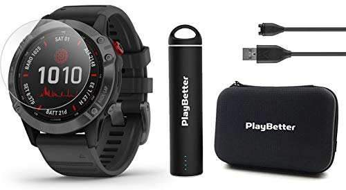Garmin Fenix 6 Pro Solar (Slate Gray with Black Band) Power Bundle | +HD Screen Protectors, PlayBetter Portable Charger & Hard Case | Solar Charging, ClimbPro, PacePro, Spotify