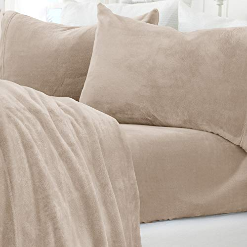 Micro Fleece Extra Soft Cozy Velvet Plush Sheet Set. Deluxe Bed Sheets with Deep Pockets. Velvet Luxe Collection (Queen, Taupe)