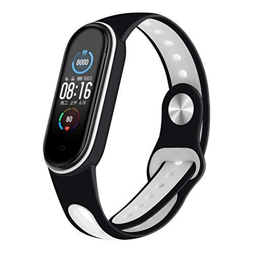 Aerku Armband Kompatible für Xiaomi Mi Band 5 Damen Herren, Silikon Ersatz Fitness Armband und Uhrenarmband Sportarmband und Wristband Armbänder für Xiaomi Mi Band 5 - Schwarz und Weiß