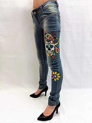 Pantalones vaqueros cintura baja mujer Casual Jeans pintados