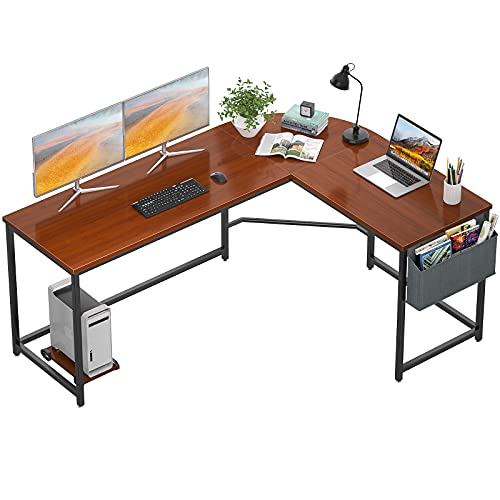 corner table for offices Homfio L Shaped Desk 58'' Computer Corner Desk Gaming Desk PC Table Writing Desk Large L Study Desk Home Office Workstation Modern Simple Multi-Usage Desk with Storage Bag Space-Saving Wooden Table