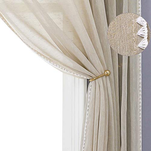 Selectex Natural Linen Sheer Curtains - Bordered Semi-Sheer Drapes Textured Grommet Top Voile Window Curtains for Bedroom and Living Room, Linen, 52x84 inches Long, Set of 2 Panels