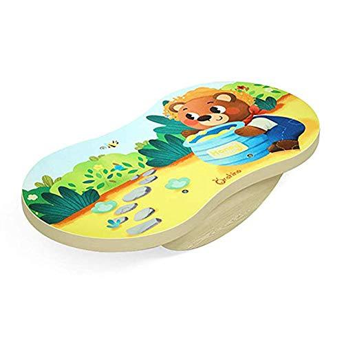 lxfy Kids Balance Board Holz/Safe Anti-Rutsch-Fitness-Board/Balancetrainer/Kinderschaukel Wippe/Sensorische Integration Training/Früherziehung