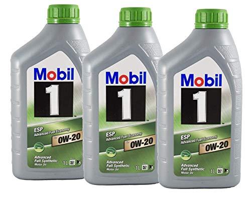 Mobil 1 100% Synthetisches Öl Motorschmiermittel ESP x2 0W-20, Packung 3 Liter