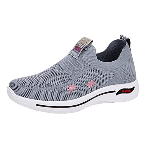 URIBAKY - Zapatillas de ocio para mujer, transpirables e informales, zapatillas de deporte, zapatillas de running, running, fitness, transpirables, zapatillas de senderismo, gris, 40 EU