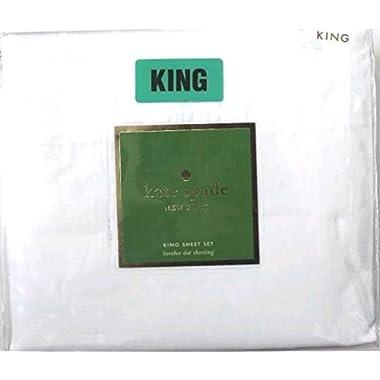 Kate Spade White Larabee Dot King 4 Piece Sheet Set Sateen Cotton (King)