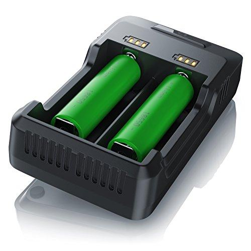 CSL - Akku Ladegerät mit USB Kabel - Universale Akku Ladestation Recharger - intelligente Mikroprozessorgesteuerte Ladetechnologie - für NI-MH NI-Cd Li-ion