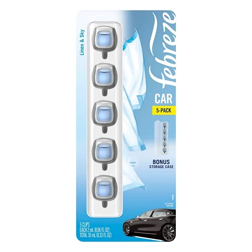 Febreze Car Air Freshener, Set of 5 Clips, Linen & Sky - up to 150 Days