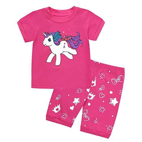 LitBud Mädchen-Pyjama, Einhorn, Nachtwäsche, 2-teilig, lange Ärmel, Nachtwäsche, Oberteil und Hose, Sets für Kinder von 2–10 Jahren Gr. 2-3 Jahre, Kurzes Einhorn1