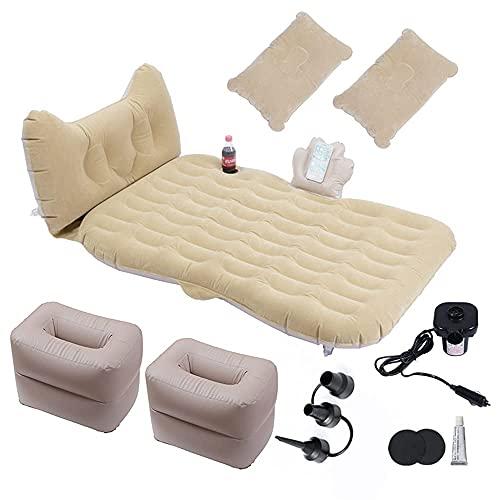 JIEZ Cama de Viaje en Coche, colchón Inflable Multifuncional para Coche, sofá Cama para Acampar para Coche de aviación, colchón de Viaje para Coche de 185 * 80 cm, Beige