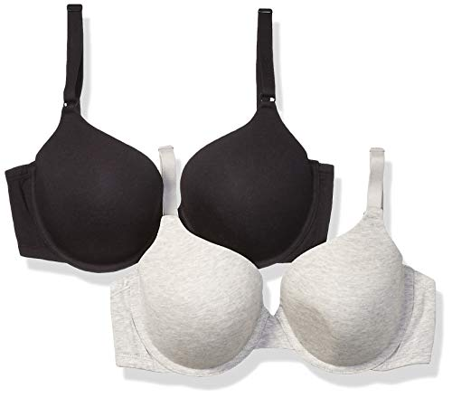 Fruit of the Loom Women's 2-Pack T-Shirt Bra, Black/Heather Grey, 38DDD