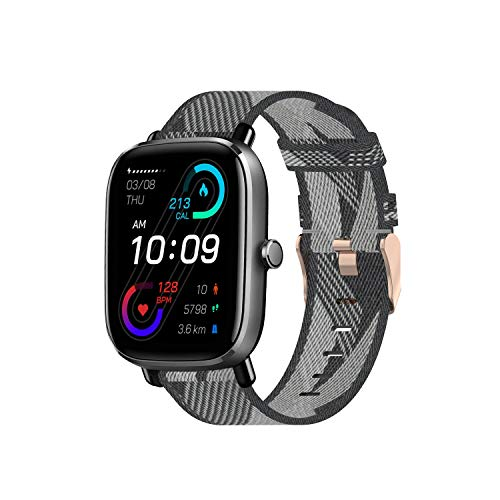 Chofit Correa compatible con Amazfit GTS 2 Mini correa, bandas de tela de nailon de rayas ligeras para reloj inteligente GTS 2 Mini/GTS 2e/GTS 2/GTR 42mm/Bip Series Smart Watch (gris)