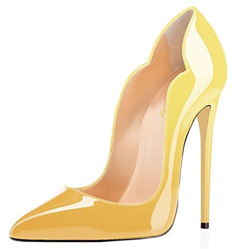 Lutalica Frauen Farbverlauf Spitz Lackleder Sexy Stiletto Heel Hochzeit Abend Pumps Schuhe Gelb Größe 36 EU