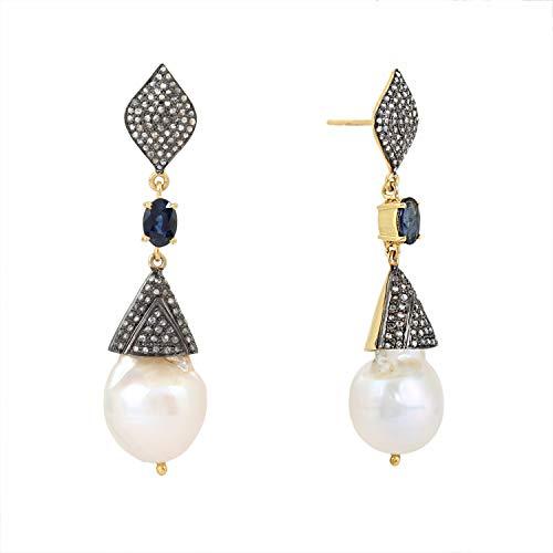 Pendientes colgantes de plata de ley 925 con diseño de poste de oro de 2,00 quilates de zafiro de 1,78 quilates de perlas de cttw, diamantes marrones de 1,05 quilates (claridad I2-I3) para mujer