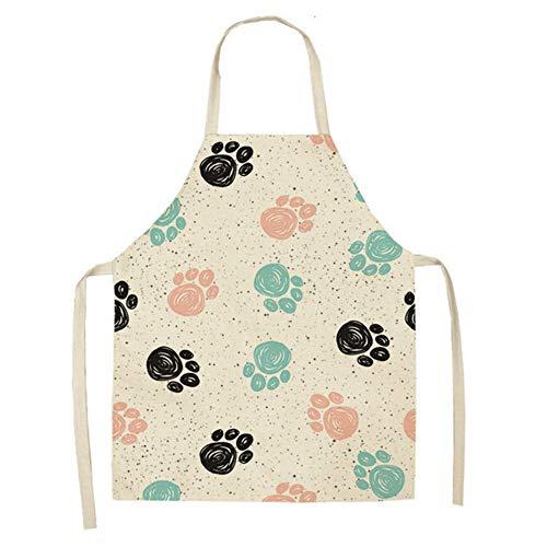 GJDBBLY schort bedrukt keukenschort voor vrouwen zonder mouwen, katoenen slabbetjes bakken voor de huismannskost 53 * 65 cm -2