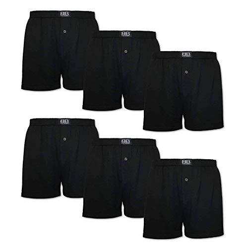 best basics 6er Pack Schwarze Boxershorts Set für Herren lockere Jersey Boxer S – 6XL (2XL, 6er)