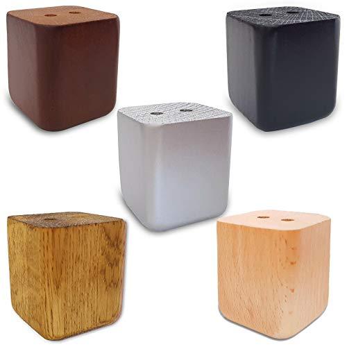 4x Möbelfüße Sofafuß Tischfuß Möbelfuß Schrankfuß Holzbeine gerade eckig Eiche (6 x 5 x 5 cm (HxBxT), Eiche Geoelt)