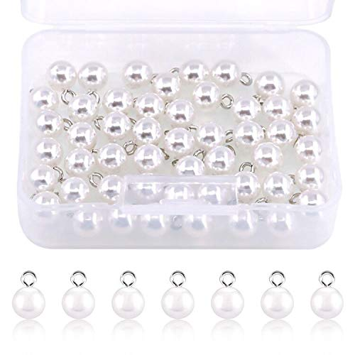 Rustark 50 Pcs Sewing Pearl Buttons Full Round Resin Dome Cap Copper Base White Shank Pearl Button Embellishments Beads Come with Storage Case for Clothing, Shoes, Scarf, Crafting(10mm)