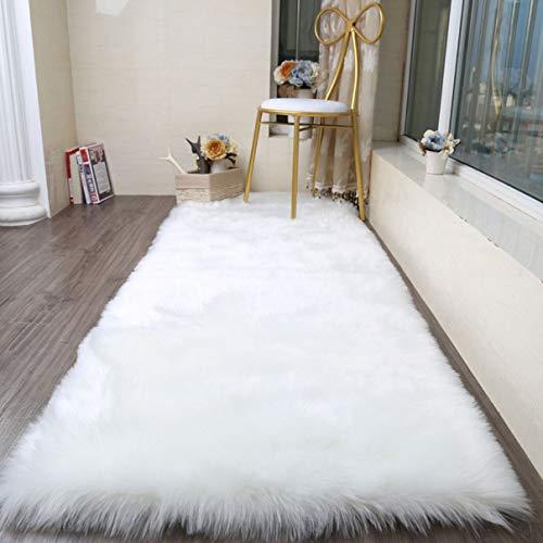 Cumay Faux Lammfell Schaffell Teppich (70 x 135 cm) - Geeignet für Wohnzimmer Teppiche Flauschig Lange Haare Fell Optik Gemütliches Schaffell Bettvorleger Sofa Matte (Weiß, 70x135cm)