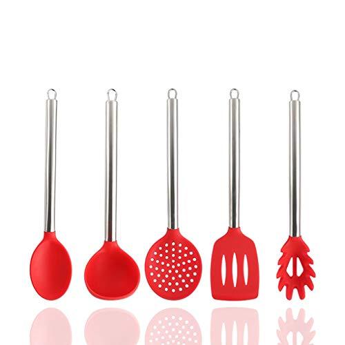 Herramientas de cocina Cocinero Utensilios de cocina Utensilios de Cocina 5pcs Set antiadherentes Resistan calor sin BPA de silicona manija del acero inoxidable utensilios de cocina Herramientas de co