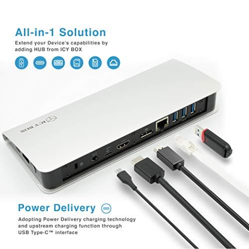ICY BOX USB-C Docking Station mit Netzteil für Notebook und MacBook, Power Delivery, HDMI, DP 1.2, USB 3.0 Hub, Kartenleser, LAN