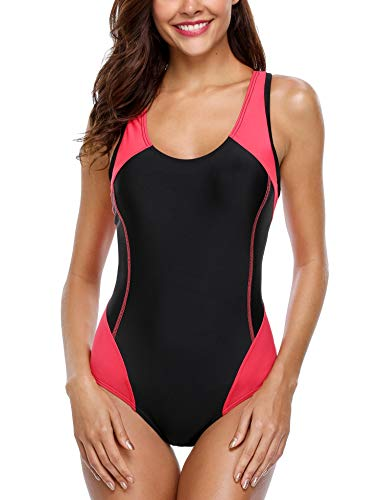 beautyin Competition Bathing Suit for Women One Piece Swimsuit with Built in Bra Red/Black