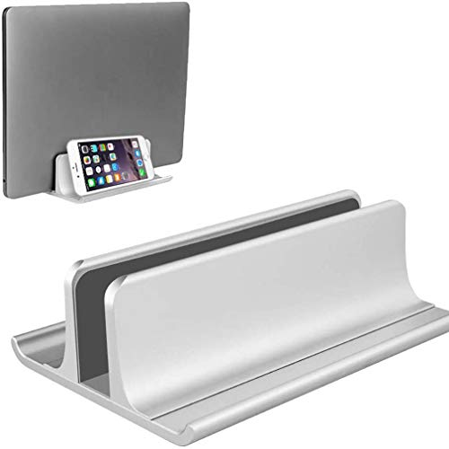 Cutfouwe Vertical Laptop Stand Holder Adjustable Notebook Desktop Dock Space-Saving 3 in 1 for All MacBook Pro Air/Mac/HP/Dell/Lenovo/Laptop,Silver