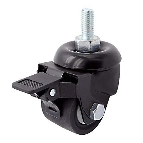 Qiming Universal Wheel Ruedas giratorias giratorias duraderas de 50 mm con Seguridad Dual Caster 4 Pack Todo con Freno Sin Ruido Ruedas con Llave for Furniture Trolley (Color : Black, Size : 2in)