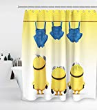 Funny Minions Shower Curtain Yellow and White Ombre with 12 Hooks Waterproof Washable and Durable Polyester Cloth Fabric Three Naked Cartoon Figure Bathroom Set Decor Washable 72 x 72 inches Blue